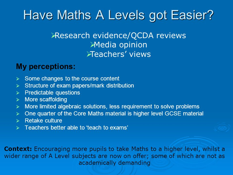 Have Maths A Levels got Easier? My perceptions:   Some changes to the course content   Structure of exam papers/mark distribution   Predictable