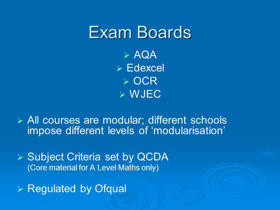 Exam Boards   AQA   Edexcel   OCR   WJEC   All courses are modular; different schools impose different levels of 'modularisation'   Subjec