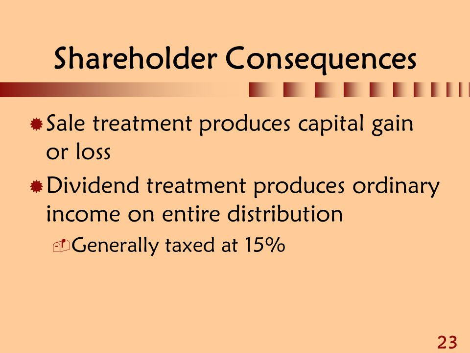 23 Shareholder Consequences  Sale treatment produces capital gain or loss  Dividend treatment produces ordinary income on entire distribution  Gene