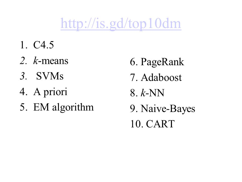 http://is.gd/top10dm 1.C4.5 2.k-means 3. SVMs 4.A priori 5.EM algorithm 6.