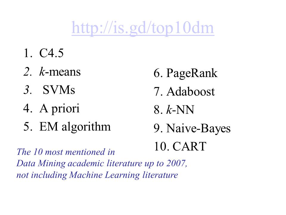 http://is.gd/top10dm 1.C4.5 2.k-means 3.