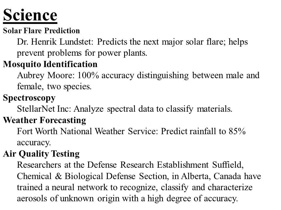 Science Solar Flare Prediction Dr.