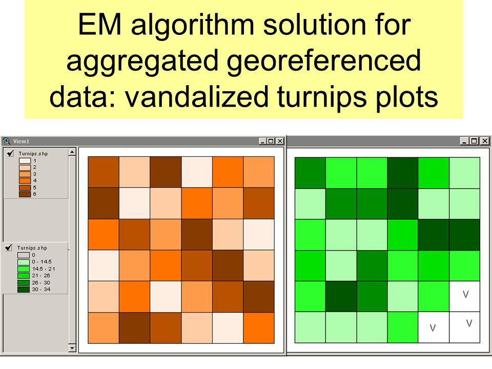 EM algorithm solution for aggregated georeferenced data: vandalized turnips plots