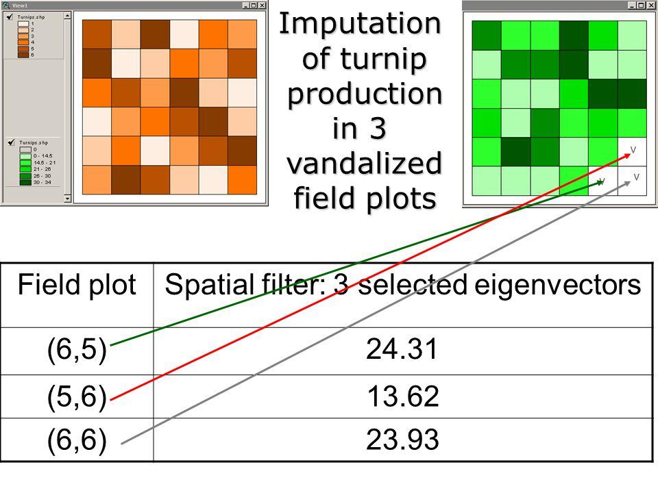 Field plotSpatial filter: 3 selected eigenvectors (6,5)24.31 (5,6)13.62 (6,6)23.93Imputation of turnip production in 3 vandalized field plots