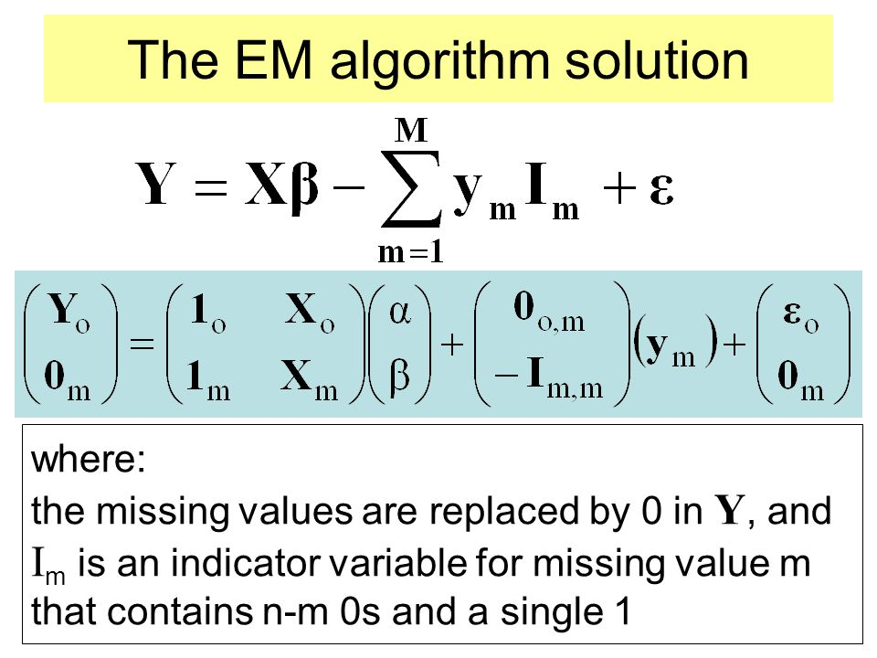 The EM algorithm solution where: the missing values are replaced by 0 in Y, and I m is an indicator variable for missing value m that contains n-m 0s
