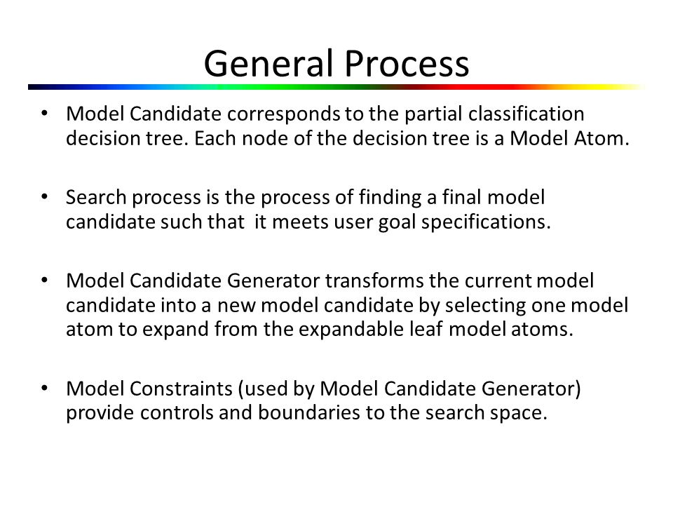 General Process Model Candidate corresponds to the partial classification decision tree.