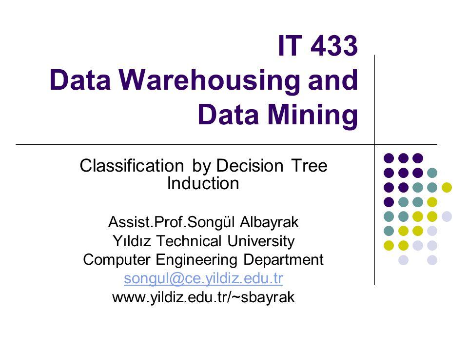 IT 433 Data Warehousing and Data Mining Classification by Decision Tree Induction Assist.Prof.Songül Albayrak Yıldız Technical University Computer Eng