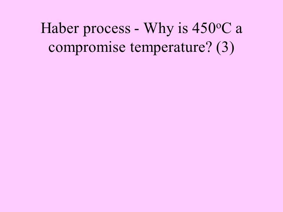 Give a balanced symbol equation to represent the Haber process and state what conditions are used.