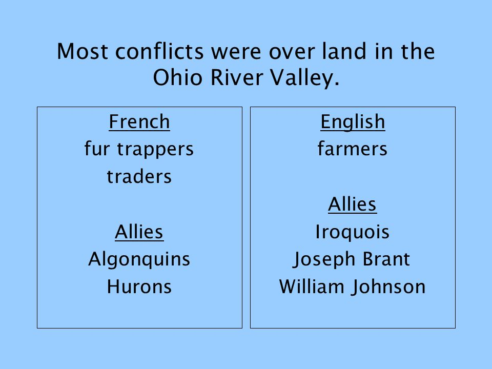 Most conflicts were over land in the Ohio River Valley. French fur trappers traders Allies Algonquins Hurons English farmers Allies Iroquois Joseph Br