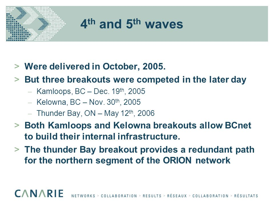 4 th and 5 th waves >Were delivered in October, 2005. >But three breakouts were competed in the later day – Kamloops, BC – Dec. 19 th, 2005 – Kelowna,