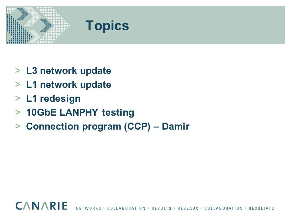 Topics >L3 network update >L1 network update >L1 redesign >10GbE LANPHY testing >Connection program (CCP) – Damir