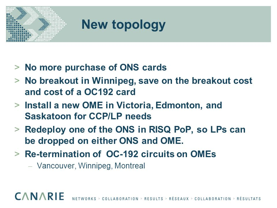 New topology >No more purchase of ONS cards >No breakout in Winnipeg, save on the breakout cost and cost of a OC192 card >Install a new OME in Victori