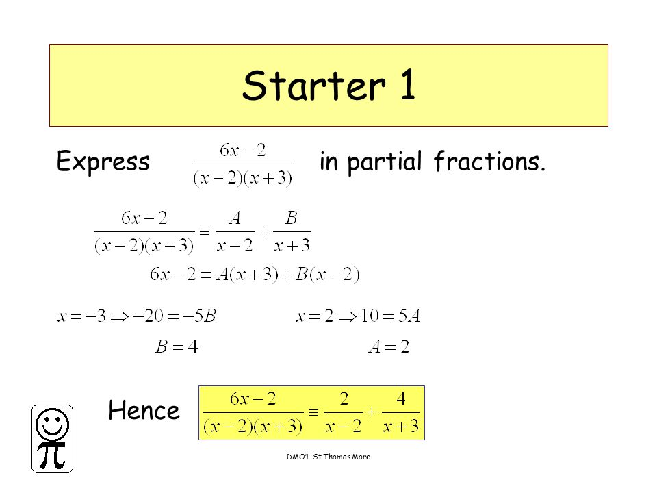 DMO'L.St Thomas More Starter 6 Find the coordinates of the points where the following curves meet the x,y axes Back