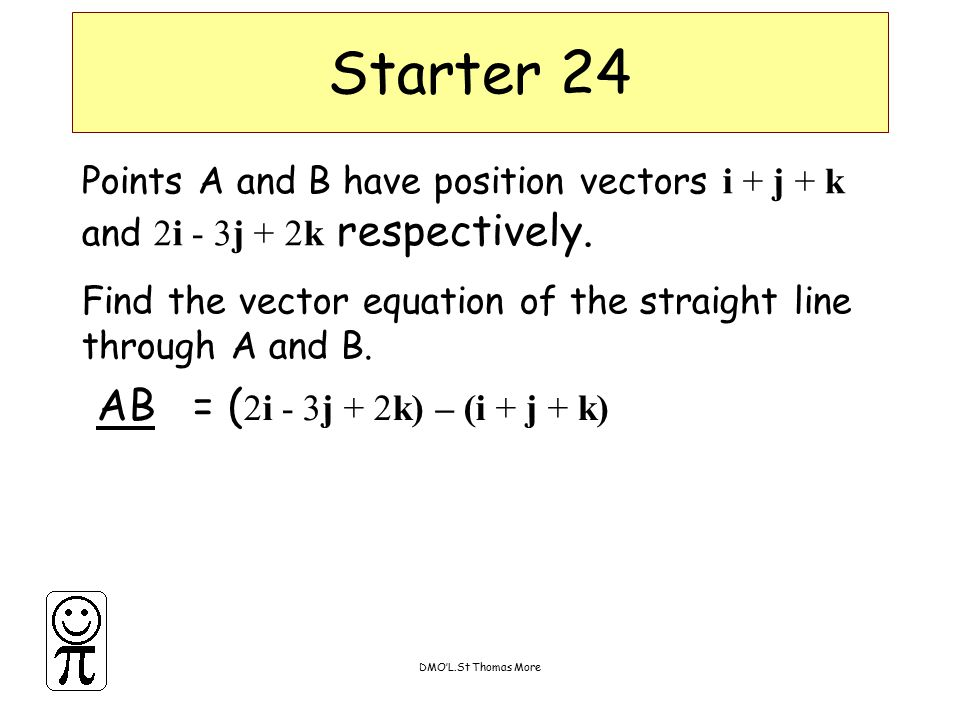 DMO'L.St Thomas More Points A and B have position vectors i + j + k and 2i - 3j + 2k respectively. Find the vector equation of the straight line throu