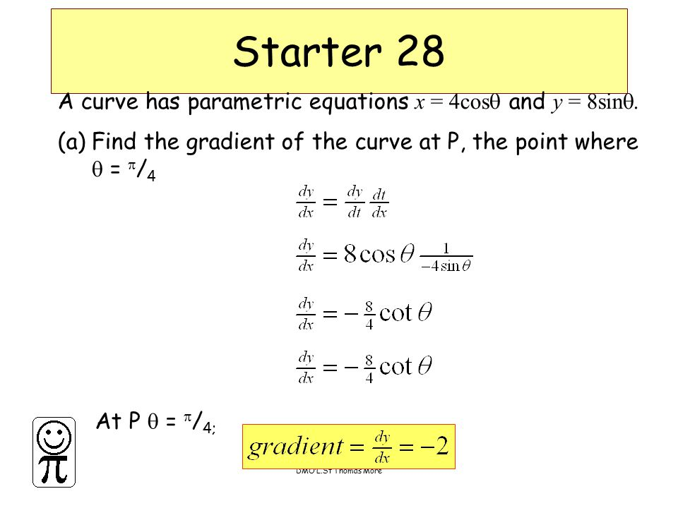 DMO'L.St Thomas More Starter 28 A curve has parametric equations x = 4cos  and y = 8sin  (a)Find the gradient of the curve at P, the point where  =  / 4 At P  =  / 4;