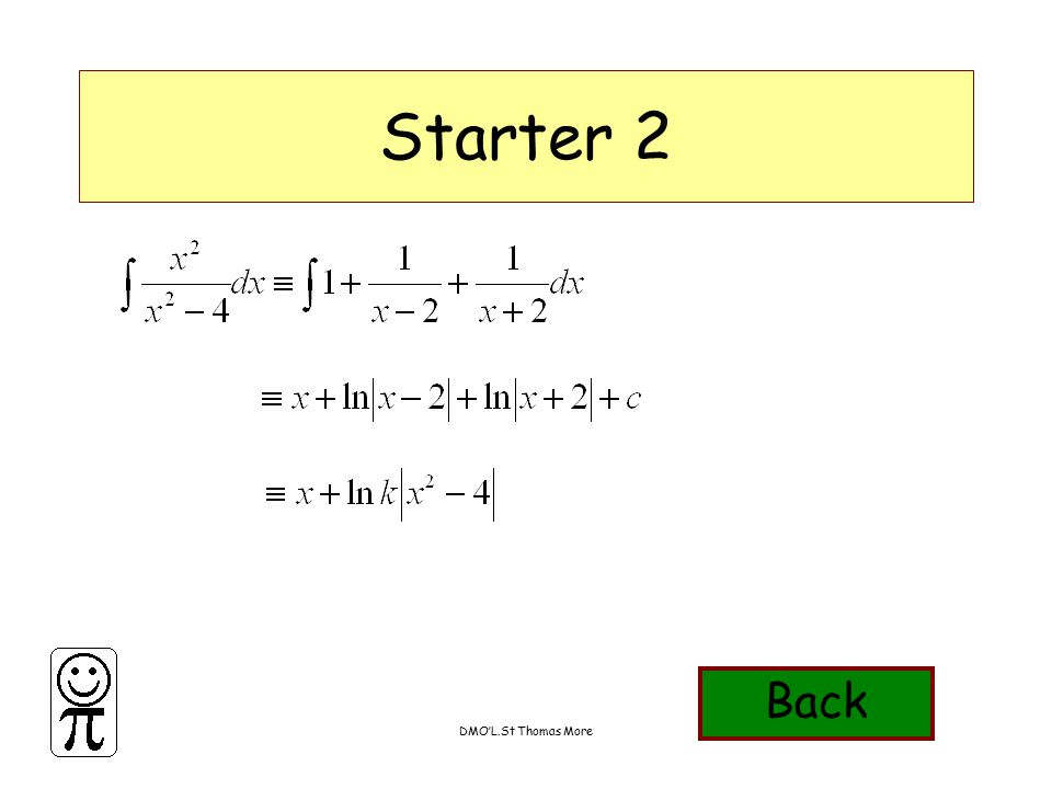 DMO'L.St Thomas More Starter 3 Find the cartesian equation of the curve given by the parametric equations