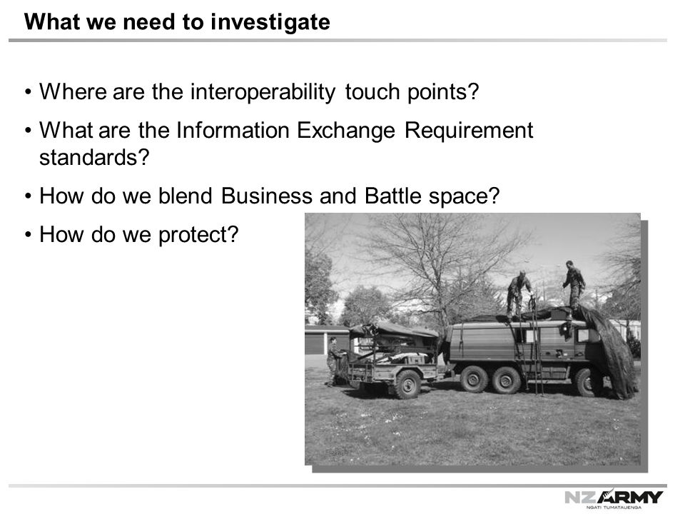 What we need to investigate Where are the interoperability touch points.
