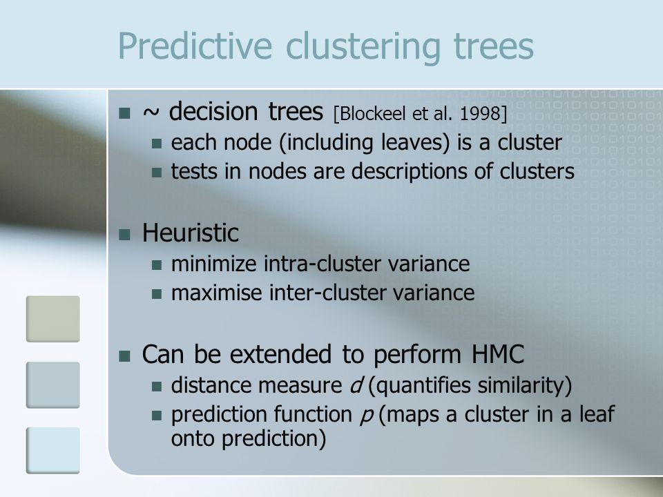 Predictive clustering trees ~ decision trees [Blockeel et al.