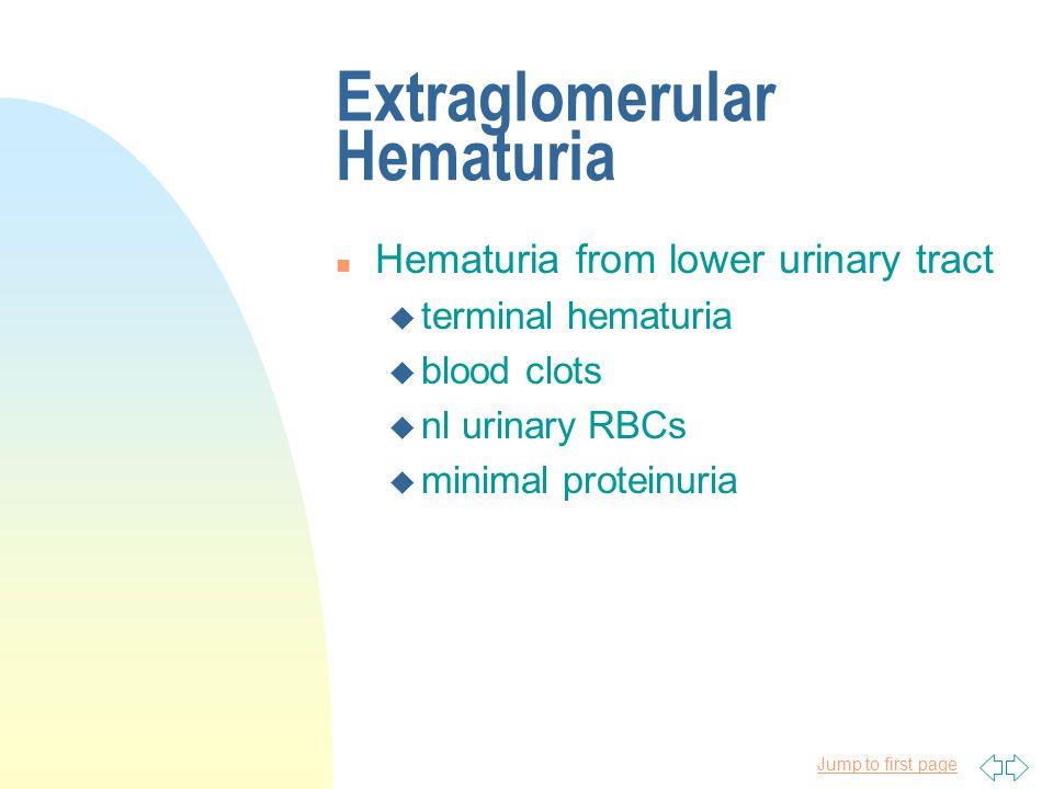 Jump to first page W/u for Glomerular Hematuria n CBC n C3, C4 n antistreptolysin-O titer, streptozyme titer n serum electrolytes, BUN, serum Cr, serum albumin n test for lupus n Hep B n antinuclear cytoplasmic antibody titer