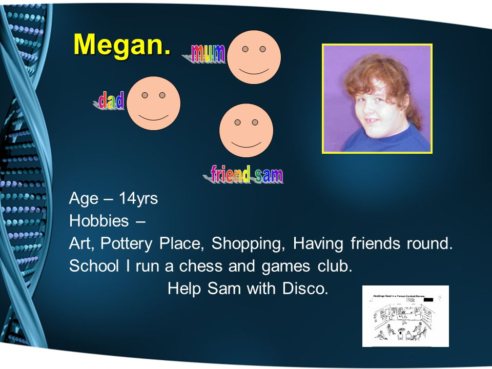Age – 14yrs Hobbies – Art, Pottery Place, Shopping, Having friends round.