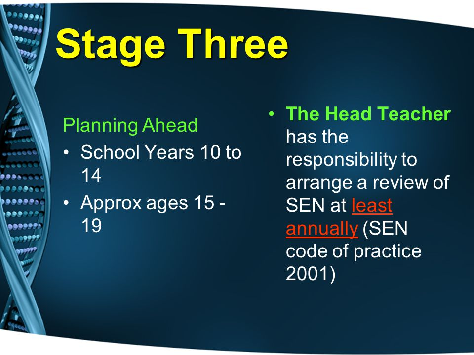 Stage Three Planning Ahead School Years 10 to 14 Approx ages 15 - 19 The Head Teacher has the responsibility to arrange a review of SEN at least annually (SEN code of practice 2001)