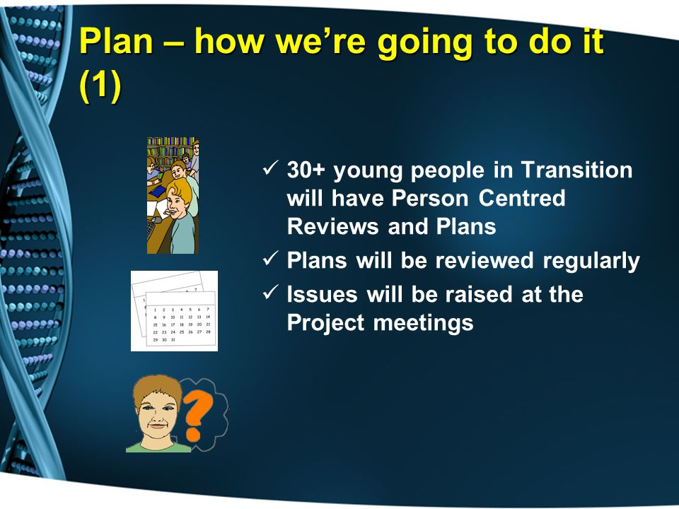 Plan – how we're going to do it (1) 30+ young people in Transition will have Person Centred Reviews and Plans Plans will be reviewed regularly Issues will be raised at the Project meetings