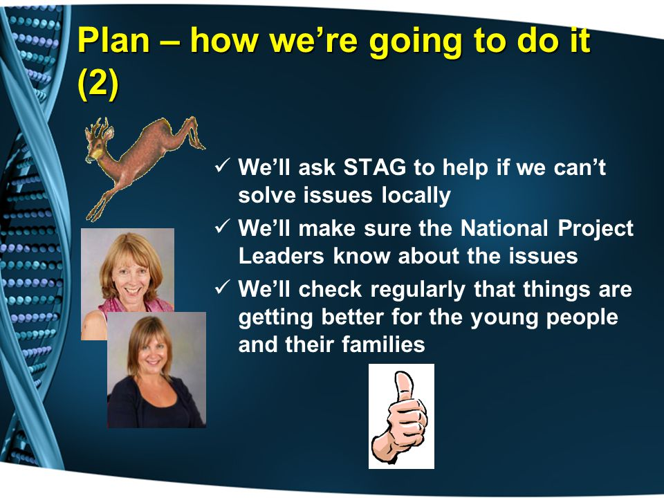 Plan – how we're going to do it (2) We'll ask STAG to help if we can't solve issues locally We'll make sure the National Project Leaders know about the issues We'll check regularly that things are getting better for the young people and their families