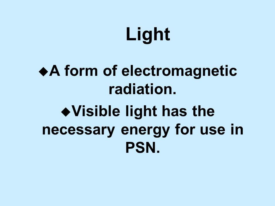 Light u A form of electromagnetic radiation.