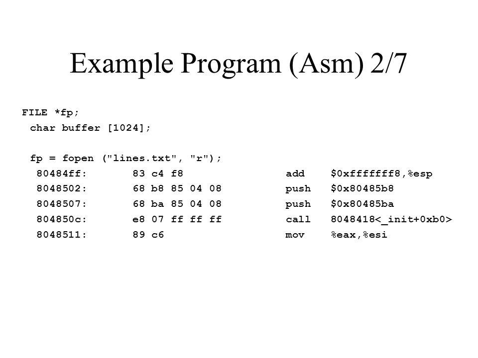 Example Program (Asm) 2/7 FILE *fp; char buffer [1024]; fp = fopen ( lines.txt , r ); 80484ff: 83 c4 f8 add $0xfffffff8,%esp 8048502: 68 b8 85 04 08 push $0x80485b8 8048507: 68 ba 85 04 08 push $0x80485ba 804850c: e8 07 ff ff ff call 8048418 8048511: 89 c6 mov %eax,%esi