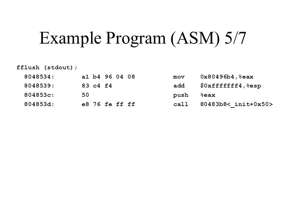 Example Program (ASM) 5/7 fflush (stdout); 8048534: a1 b4 96 04 08 mov 0x80496b4,%eax 8048539: 83 c4 f4 add $0xfffffff4,%esp 804853c: 50 push %eax 804853d: e8 76 fe ff ff call 80483b8