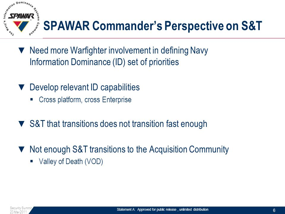 Statement A: Approved for public release, unlimited distribution SPAWAR Commander's Perspective on S&T ▼ Need more Warfighter involvement in defining
