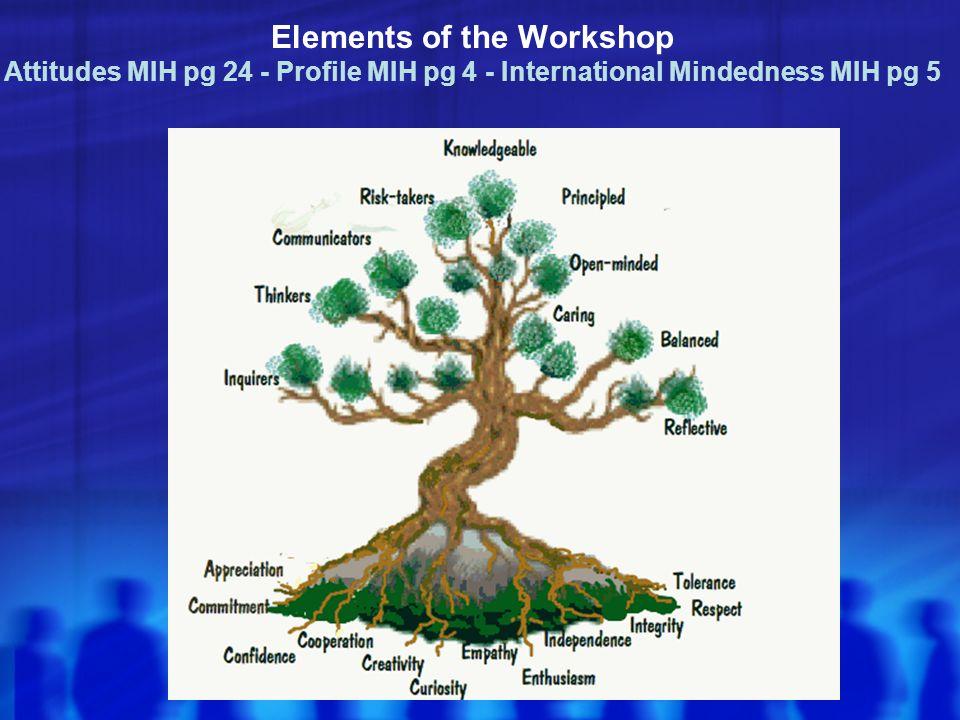 Elements of the Workshop Attitudes MIH pg 24 - Profile MIH pg 4 - International Mindedness MIH pg 5