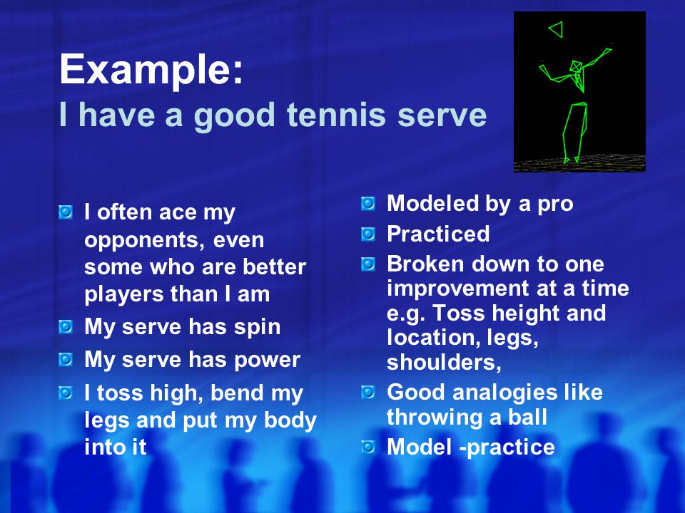 Example: I have a good tennis serve I often ace my opponents, even some who are better players than I am My serve has spin My serve has power I toss high, bend my legs and put my body into it Modeled by a pro Practiced Broken down to one improvement at a time e.g.