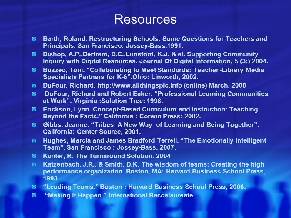 Resources Barth, Roland.Restructuring Schools: Some Questions for Teachers and Principals.