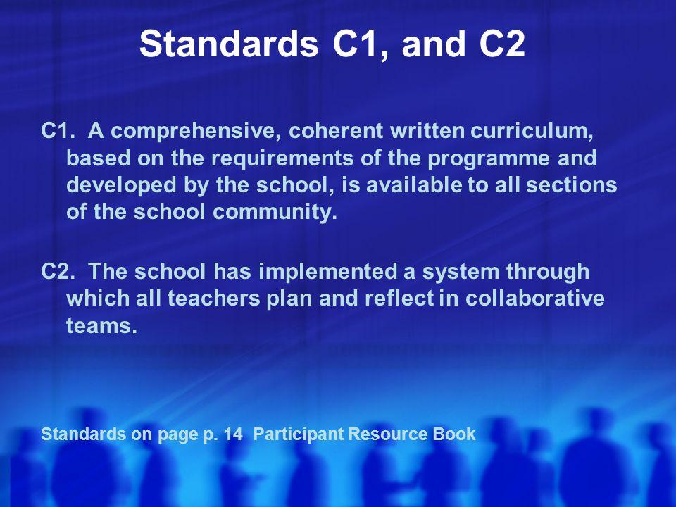 Standards C1, and C2 C1.