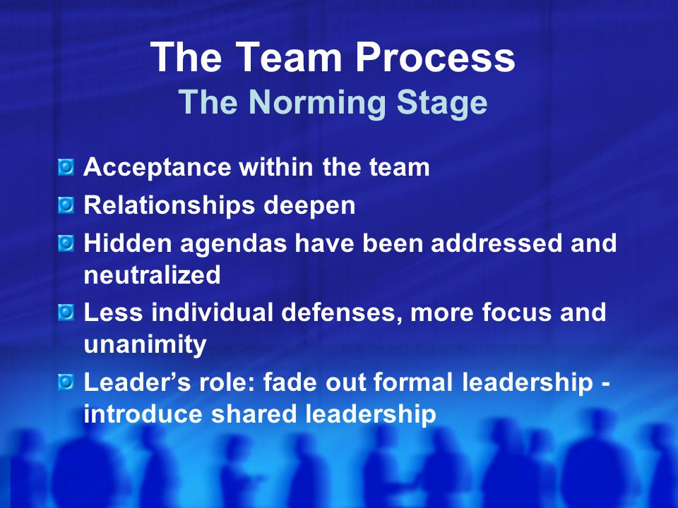 The Team Process The Norming Stage Acceptance within the team Relationships deepen Hidden agendas have been addressed and neutralized Less individual defenses, more focus and unanimity Leader's role: fade out formal leadership - introduce shared leadership