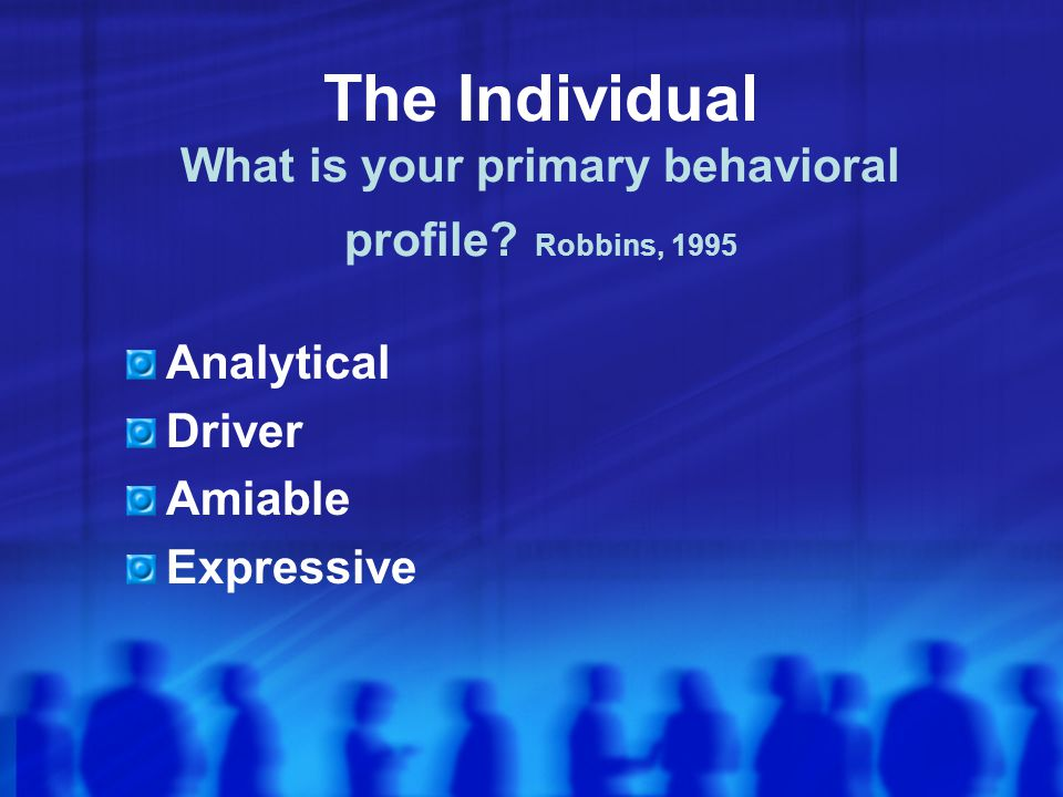 The Individual What is your primary behavioral profile.