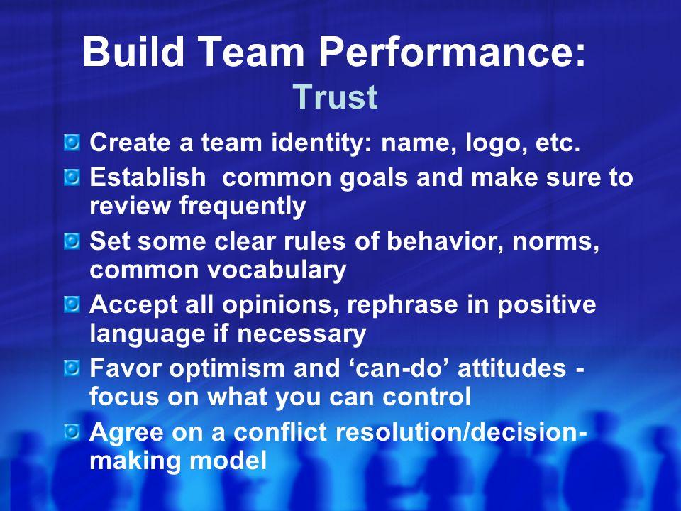 Build Team Performance: Trust Create a team identity: name, logo, etc.