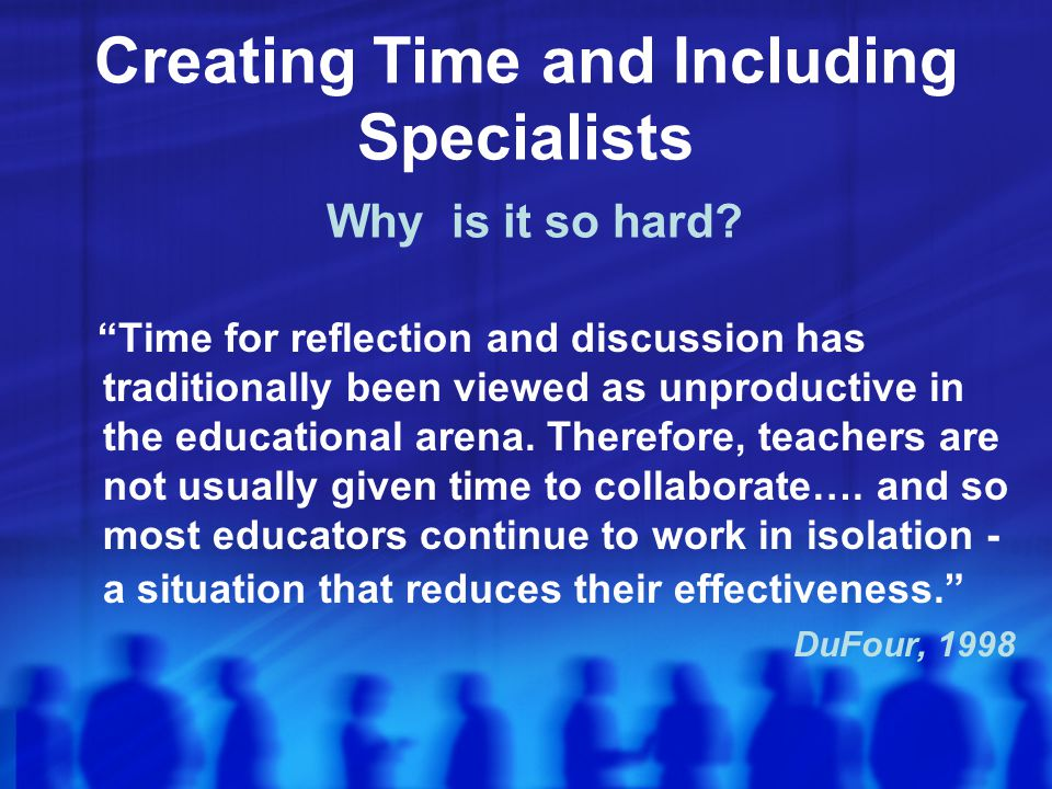Creating Time and Including Specialists Why is it so hard.