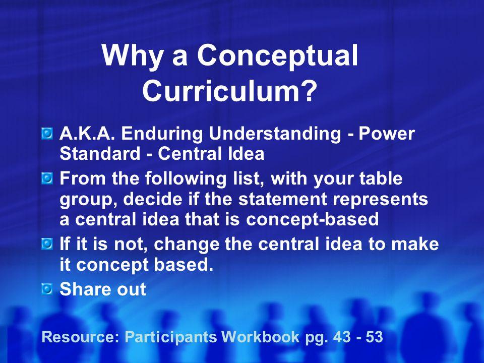 Why a Conceptual Curriculum.A.K.A.