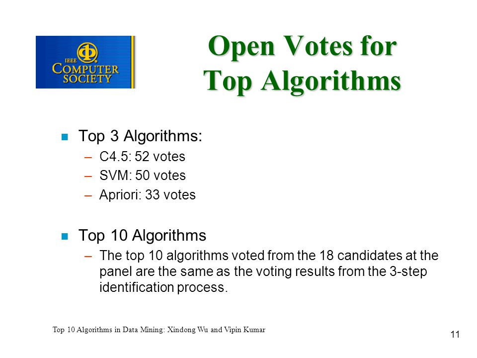 11 Top 10 Algorithms in Data Mining: Xindong Wu and Vipin Kumar Open Votes for Top Algorithms n Top 3 Algorithms: –C4.5: 52 votes –SVM: 50 votes –Apri
