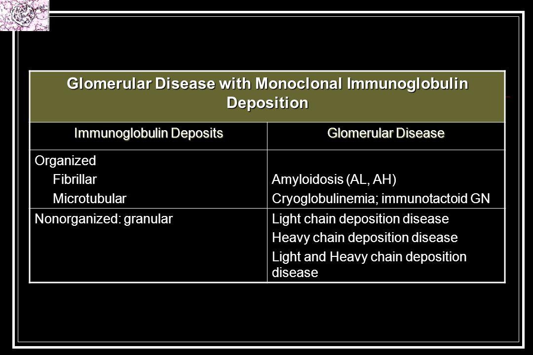 Glomerular Disease with Monoclonal Immunoglobulin Deposition Immunoglobulin Deposits Glomerular Disease Organized Fibrillar Microtubular Amyloidosis (