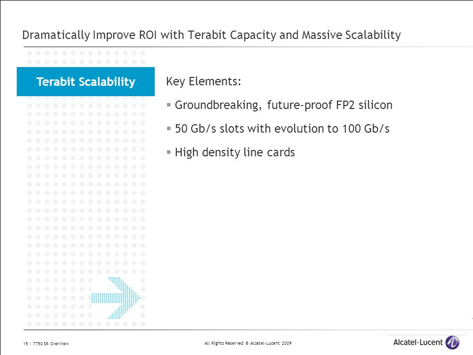 All Rights Reserved © Alcatel-Lucent 2009 15 | 7750 SR Overview Dramatically Improve ROI with Terabit Capacity and Massive Scalability Key Elements: 