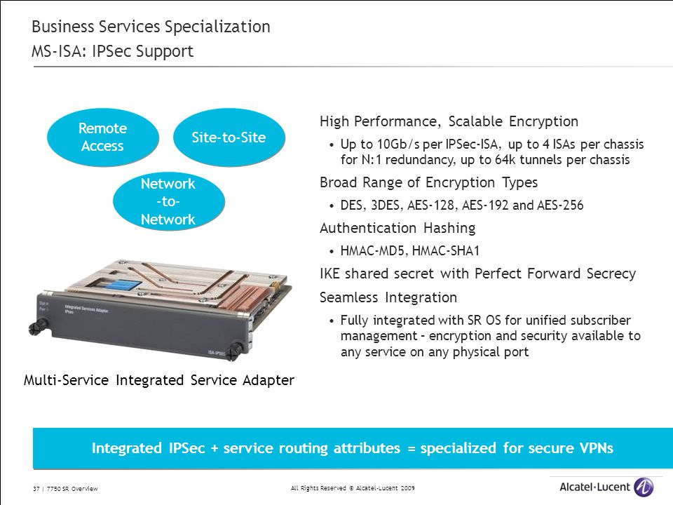 All Rights Reserved © Alcatel-Lucent 2009 37 | 7750 SR Overview Business Services Specialization MS-ISA: IPSec Support High Performance, Scalable Encr