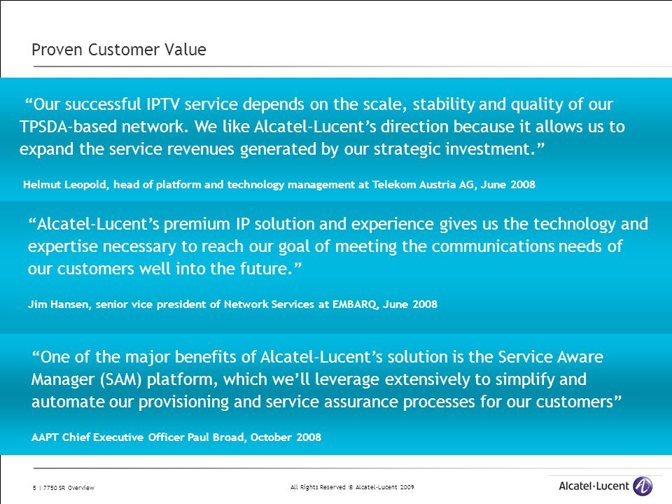 """All Rights Reserved © Alcatel-Lucent 2009 5 