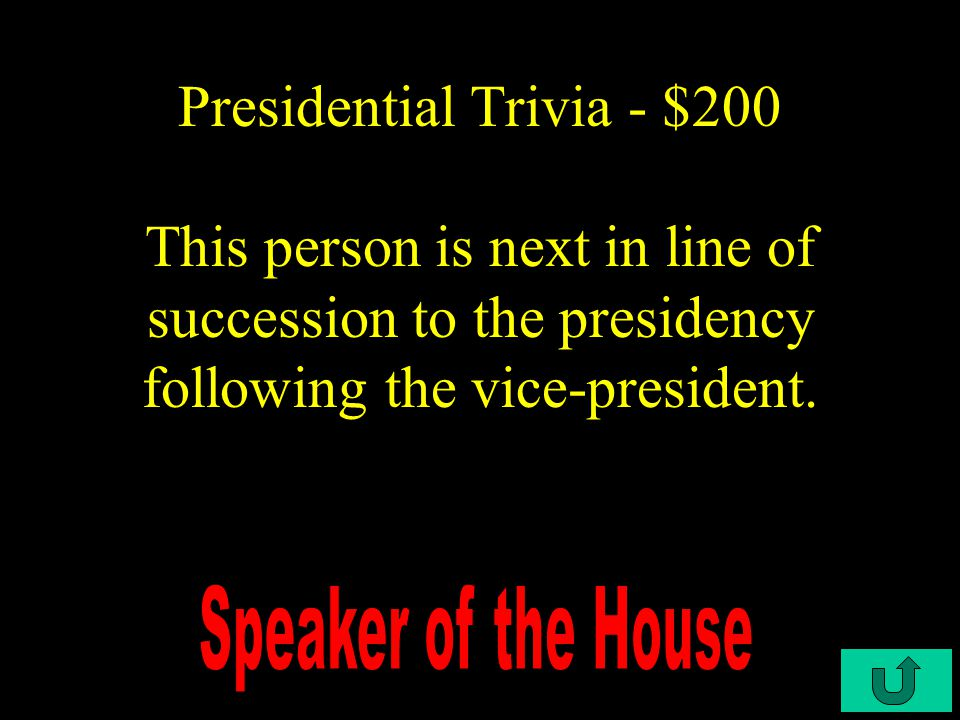 C4-$100 Presidential Trivia - $100 Identify this president.