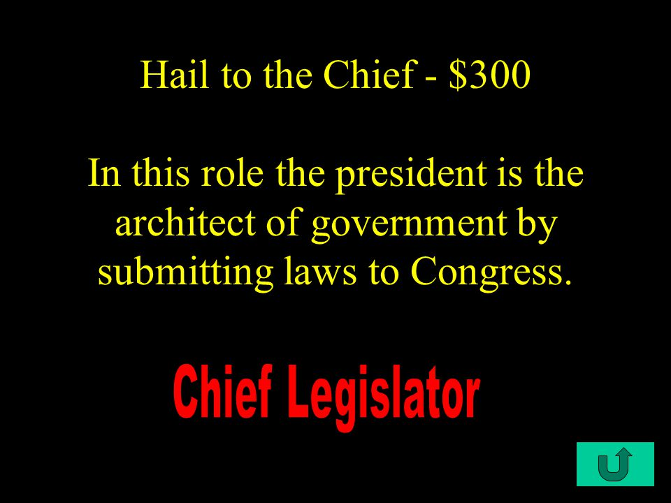 C1-$200 Hail to the Chief - $200 Title as head of the Executive Branch.