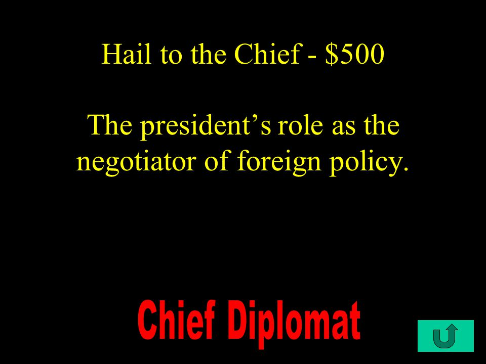 C1-$500 Hail to the Chief - $500 The president's role as the negotiator of foreign policy.
