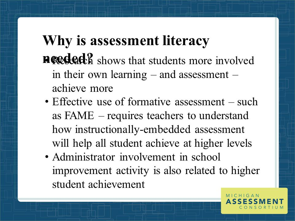 Who needs assessment literacy.