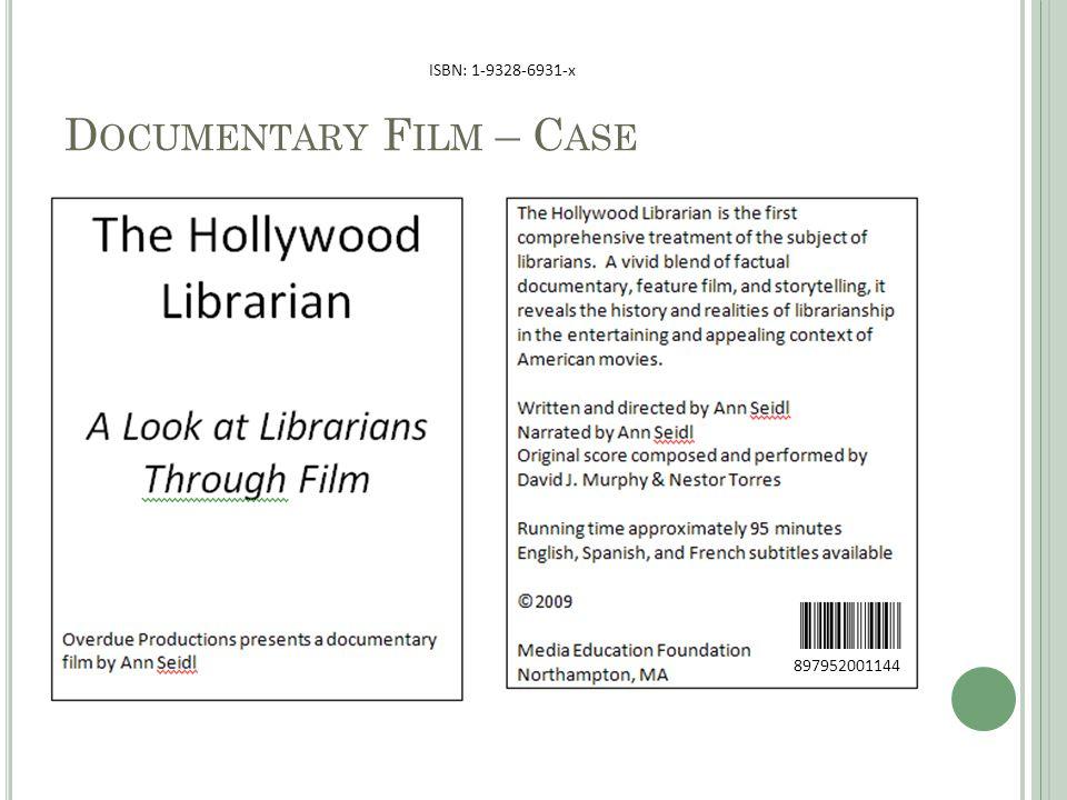 D OCUMENTARY F ILM – C ASE 897952001144 ISBN: 1-9328-6931-x